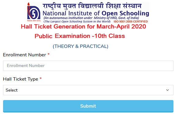 Download NIOS Admit Card for Class 10